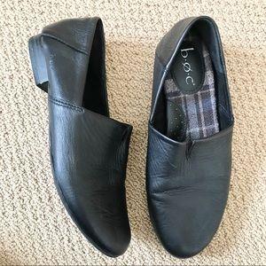 BOC Black Leather Slip-On Shoes